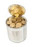Русские монетки в чонсервной банке Стоковые Фотографии RF