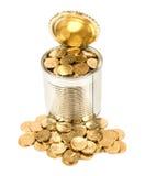 Русские монетки в чонсервной банке Стоковое фото RF
