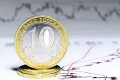 Русские монетки на фоне финансовых диаграмм Стоковые Изображения RF
