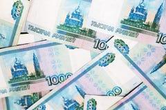 Русские рубли бумажной предпосылки Стоковая Фотография RF