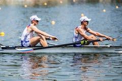 Русские спортсмены на rowing конкуренции чашки мира гребя Стоковое Изображение RF
