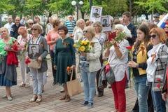 Русские эмигранты в болгарском Pomorie на торжестве дня победы 2018 Стоковое фото RF