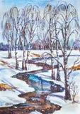 Русский ландшафт зимы Стоковое Изображение RF