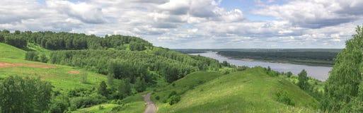 Русский ландшафт Khabar, область Nizhny Novgorod, Россия Стоковое фото RF