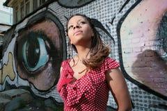 русский африканской девушки платья красный Стоковое Изображение