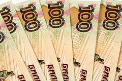Русский 100 бумажных денег рубля Стоковые Изображения