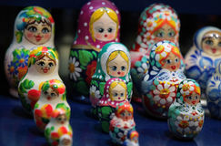 русский вложенности matrioshka кукол Стоковое Изображение