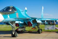 Русский истребитель-бомбардировщик Sukhoi Su-34 на MAKS-2017 Стоковая Фотография RF