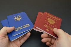 Русский и украинский пасспорт Стоковые Изображения