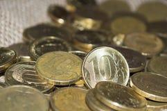 Русский крупный план 10 монеток рубля Стоковое Изображение