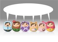 русский куклы шаржа карточки Стоковые Изображения