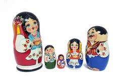 русский кукол изолированный семьей Стоковые Изображения RF