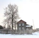 Русский маленький город ландшафта зимы Стоковое фото RF