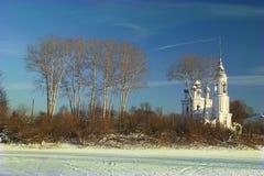 Русский маленький город ландшафта зимы Стоковое Изображение