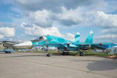 Русский многофункциональный истребитель-бомбардировщик Su-34 принимать авиасалон MAKS-2017 Стоковое фото RF