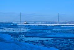 Русский мост зимы Стоковая Фотография
