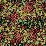 Русский орнамент Традиционное безшовное в стиле hohloma Черная флористическая предпосылка с ягодами, листьями, свирлями Стоковое Изображение RF