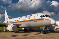 Русский пассажирский самолет Sukhoi Superjet-100 Стоковые Фотографии RF