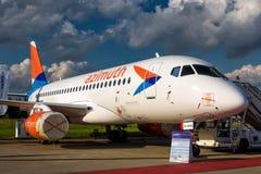 Русский пассажирский самолет Sukhoi Superjet-100 Стоковые Изображения RF