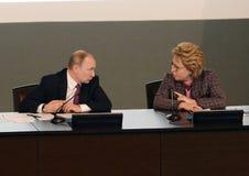 Русский президент Владимир Путин и президент совета федерации федерального собрания Российской Федерации Стоковое Фото