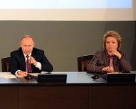 Русский президент Владимир Путин и президент совета федерации федерального собрания Российской Федерации Стоковые Фотографии RF