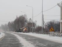 Русский ремонт дорог в зиме Стоковая Фотография