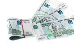Русский 1000 рублевок банкноты Стоковые Фотографии RF