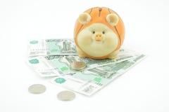 Русский рубль тысяча и монетки Стоковые Изображения RF
