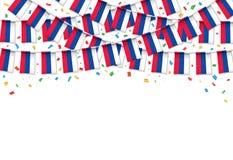 Русский сигнализирует предпосылку гирлянды белую с confetti, овсянкой вида для торжества дня России иллюстрация вектора