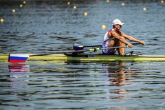 Русский спортсмен на rowing конкуренции чашки мира гребя Стоковая Фотография