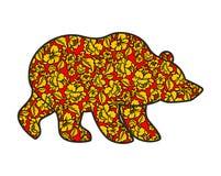 Русский стиль hohloma медведя Национальная фольклорная картина цветков W иллюстрация штока