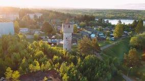 Русский типа городской поселение Nikolskiy с деревянными домами сток-видео