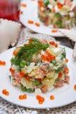 Русский традиционный салат более olivier Стоковые Фото