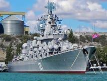 Русский флот Чёрного моря в порте Севастополя стоковая фотография