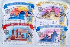 Русский штемпелюет с изображением Кремля Стоковые Изображения