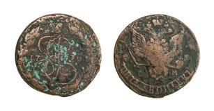 2 1813 русских копейки меди i монетки Александра старых Стоковые Изображения