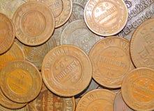2 1813 русских копейки меди i монетки Александра старых Стоковое фото RF
