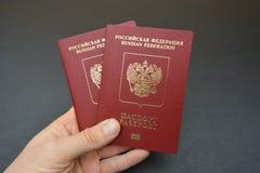 2 русских пасспорта в руке Стоковые Фотографии RF