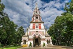Русское рождество монастыря церков в городке Shipka стоковое фото