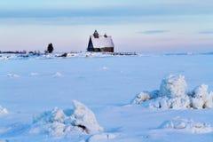 Русское северное, белое море в зиме Стоковые Фото