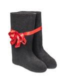 Русское традиционное valenki ботинка войлока зимы Стоковые Изображения RF