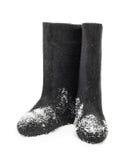 Русское традиционное valenki ботинка войлока зимы Стоковое фото RF