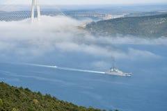 Русское wapship передает Bosphorus к Эгейскому морю Стоковые Изображения