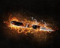 Ручка горя в огне стоковые изображения