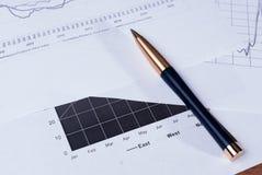 Ручка лежа на финансовые диаграммы Стоковые Фото