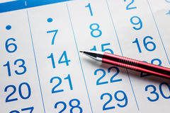 Ручка лежит на календаре стоковые изображения rf