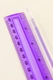 Ручка и правитель Стоковое Изображение