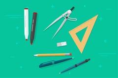 Ручка, карандаши, ластик, правители треугольника, отметка, ручка biro, вектор рассекателя компаса, канцелярские принадлежности во иллюстрация вектора