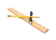 Ручка, карандаш и правитель Стоковое фото RF