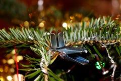 Ручка металла для свечи на рождественской елке Стоковая Фотография
